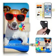 ( For iPod Touch 6 ) Wallet Flip Case Cover AJ40260 Dog on Beach