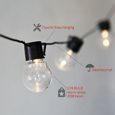 25.5 Ft 20 Clear Globe Connectable Plug-in Outdoor Party String LED Lights Timer