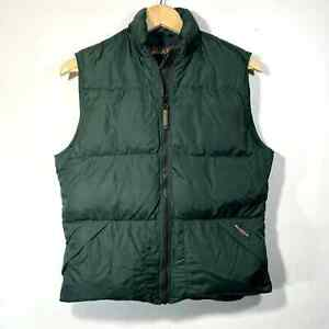 Woolrich Down Puffer Vest Heavy Nylon Packable Pocket 100% Down Forest Green S