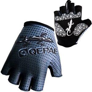 QEPAE Outdoor Half Finger Gecko Anti-Slip Gel Cycling Driving Hiking Gloves