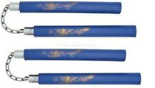 "Set of 2 12"" Blue Foam Training Nunchaku Nunchuck Golden Dragon Metal Chain Link"