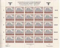SALE Stamp Germany Poland General Gov't Mi 116 Sheet 1943 WWII War Castle MNH