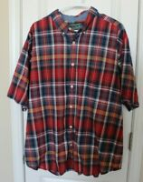 Woolrich Mens Plaid Short Sleeve Button Up Shirt Red Blue Yellow Sz XL EUC