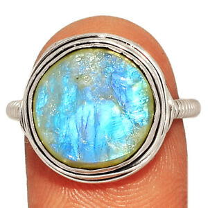 Moonstone Rough 925 Sterling Silver Jewelry Ring s.7.5 AR223664 241B
