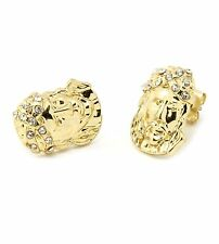 Mens 14k Gold Plated Iced Out Cz Jesus Face Cz Hip Hop Bling Stud Earrings E3