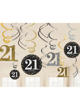 Gold and Black 21st Birthday Swirl Decorations