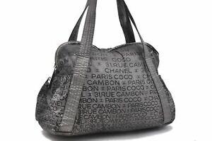 Authentic CHANEL 31 RUE CAMBON CC Logo Hand Bag Nylon Gray Black A5037