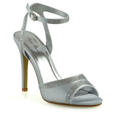 Womens Bridal Shoes Ankle Strap Ladies Stiletto Heel Diamante Prom Party Sandals