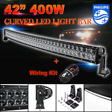 """42""""inch 400W PHILIPS LED Curved Light Bar Combo Spot Flood 4WD Offroad ATV 40"""""""