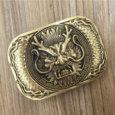 Vintage Solid Brass Dragon Head  Belt Buckle DIY Leather Accessories