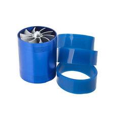 Supercharger Power Air Intake Turbonator Dual Fan Turbine Gas Fuel Saver Blue