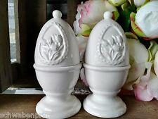 2 x Warmhalten Tulpen Blumen Servieren Eierbecher mit Haube Eierhaube Weiß