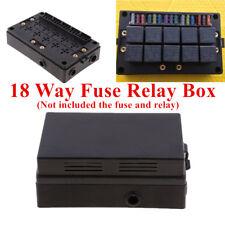 18-way Blade Fuse Holder + 10-way Relay Socket Box Dust-proof Car Truck Marine