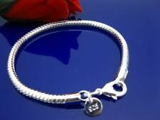Cool 925Sterling Silver 4MM 8inch Snake Strong Men Chain Bracelet ZH159