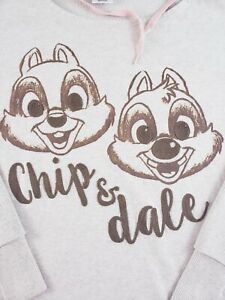 Disney Store Womens M Chip And Dale Hoodie Beige and Peach Oversized Embroidered