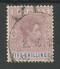 BAHAMAS SG156,THE 1938 GVI 5/- LILAC AND BLUE USED CAT £100