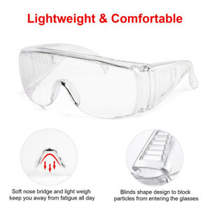 2X Safety Goggles Glasses Eye Protection Anti Fog Clear Vent Unisex Lab Work