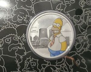 The Simpsons™ .5 oz  Carded silver Homer Simpson coin with COA Same Day Shipping