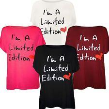 New Ladies Plus Size Slogan Print Cap Sleeve Stretch T-Shirts Tops 16-26