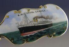 RARE Sterling Silver émail RMS Royal George livraison Cuillère Antique 1911 Cunard