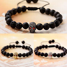 Mens Punk 8mm Black Lava Rock CZ Skull Head Beads Macrame Cuff Bracelets Jewelry