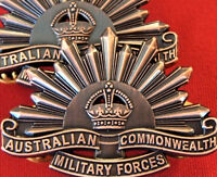 *AUSTRALIAN ANZAC WW1 & WW2 RISING SUN UNIFORM COLLAR BADGES MEDAL REPLICA BRASS