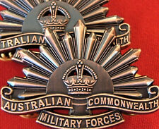 AUSTRALIAN ANZAC WW1 & WW2 RISING SUN UNIFORM COLLAR BADGES MEDAL REPLICA BRASS