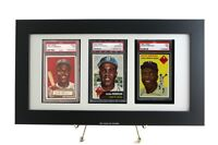Sports Card Framed Display for (3) PSA Graded Vertical Cards-White Design