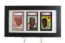Framed Display for (3) PSA Graded Vertical Sports Cards or Pokemon Cards
