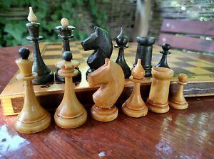 Vintage Soviet Chess Set Old USSR Wooden Box Antique Rare