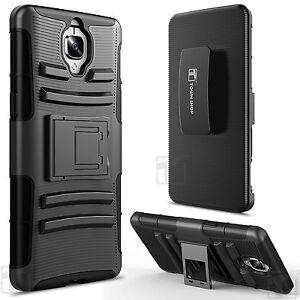 OnePlus 3 Case, Impact Armor Hybrid Kickstand Case with Belt Clip - Black