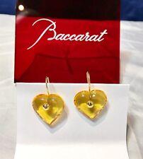 Baccarat A La Folie Crystal & Gold Heart Earrings Topaz  101075 Orecchini NEW