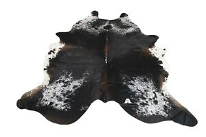 Chocolate Black & White Cowhide Rug XXLarge 8'X7' Ft - Premium Brazilian Cowhide