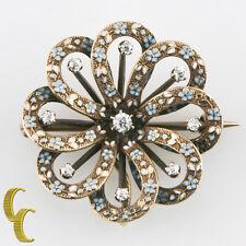 envejecido 14k Oro Amarillo Vintage Diamante & Esmalte Cinta Broche 6.2 gramos