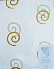 """BARGAIN! Modern Cream Tab Top Tabtop Voile With Gold Swirl. 59"""" X  48"""" Long.NEW!"""