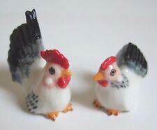 * Lot 2 Handmade Animal Miniature Ceramic White Chicken Figurines *