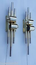 PAIR EXCEPTIONAL MID CENTURY VINTAGE ROMEO REGA RIZZO DARO SCONCES MESSING BRASS