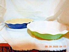"New listing Emile Henry France 10"" Blue & Green Ceramic Ruffled Pie Dish Model 301"