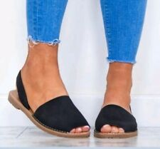 Black Round Peep Toe Menorcan Flat Flip Flop Slider Sandal Shoes 8