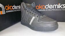 Akademiks Boy's High Top Sneakers Grey / Black Size 3.5-7 (A1585)