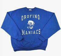 VINTAGE 90s Mens M Jumper College Varsity Spellout Sweater University Crew Blue