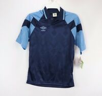 Vintage 80s New Umbro Mens Small Short Sleeve Diamond Print Soccer Jersey Navy