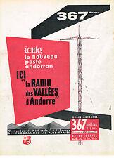 PUBLICITE ADVERTISING 0314   1960   RADIO DES VALLES  ANDORRE 367 Mètres