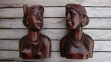 Bust man woman wood sculpture wooden art statue skulptur