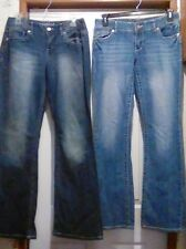 Lot of (2) MAURICES - Long Inseam Distressed Bootcut JEANS - 5/6 & 7/8  -32 X 34