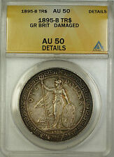 1895-B Great Britain Silver Trade Dollar $1 Coin ANACS AU-50 Details Damaged