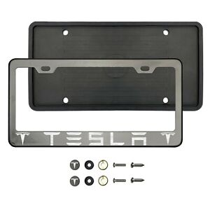 Fit Tesla Laser Etched Black Chrome Stainless Steel License Frame Silicone Guard