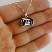 Cable Car Necklace - 925 Sterling Silver 3D Charm San Francisco Street Trolley