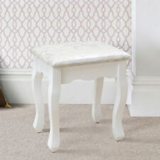 Luxury Retro Dressing Table Seat White Padded Stool Makeup Piano Study Chair