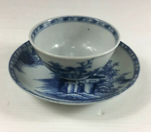 Antique Chinese C1750 Nanking Cargo Tea Bowl & Saucer Pagoda River Scape
